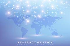 Γραφική αφηρημένη επικοινωνία υποβάθρου Μεγάλα στοιχεία σύνθετα με τις ενώσεις Σκηνικό προοπτικής με τον παγκόσμιο χάρτη ελάχιστο Στοκ εικόνες με δικαίωμα ελεύθερης χρήσης