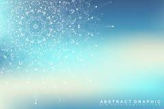 Γραφική αφηρημένη επικοινωνία υποβάθρου Μεγάλη απεικόνιση στοιχείων Συνδεδεμένες γραμμές με τα σημεία Κοινωνική δικτύωση Στοκ φωτογραφία με δικαίωμα ελεύθερης χρήσης