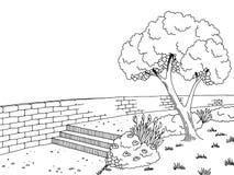 Γραφική μαύρη άσπρη απεικόνιση σκίτσων τοπίων πάρκων Στοκ Φωτογραφίες