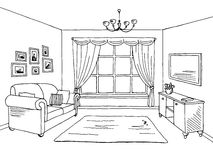 Γραφική μαύρη άσπρη εσωτερική απεικόνιση σκίτσων καθιστικών Στοκ Φωτογραφίες