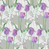 Γραφική μπλε τουλίπα λουλουδιών με τον κρίνο σε ένα γκρίζο υπόβαθρο floral πρότυπο άνευ ραφής Στοκ Εικόνα