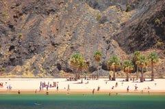 Γραφική πανέμορφη άποψη σχετικά με την παραλία Teresitas Tenerife στο νησί Στοκ Φωτογραφίες
