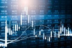 Γραφική παράσταση δεικτών της οικονομικής ανάλυσης δεικτών χρηματιστηρίου στις οδηγήσεις Στοκ Φωτογραφίες
