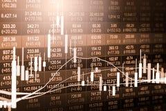Γραφική παράσταση δεικτών της οικονομικής ανάλυσης δεικτών χρηματιστηρίου στις οδηγήσεις Στοκ Εικόνες