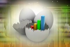 Γραφική παράσταση επιχειρησιακής αύξησης στο σπασμένο αυγό Στοκ Εικόνες