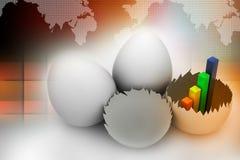 Γραφική παράσταση επιχειρησιακής αύξησης στο σπασμένο αυγό Στοκ Φωτογραφίες