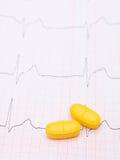 Γραφική παράσταση και χάπια ηλεκτροκαρδιογραφημάτων Στοκ εικόνα με δικαίωμα ελεύθερης χρήσης