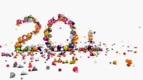 Γραφική παράσταση κινήσεων, που ζωντανεύουν 2017, νέες έτος και έννοια Χριστουγέννων, πηγή που διασκορπίζουν τα γεωμετρικά αντικε διανυσματική απεικόνιση