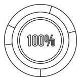 Γραφική παράσταση κύκλων διαγραμμάτων πιτών εικονίδιο 100 τοις εκατό Στοκ Εικόνες
