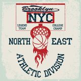 Γραφική παράσταση μπλουζών ομάδα μπάσκετ της Νέας Υόρκης, αμερικανικό έμβλημα πρωταθλήματος κολλεγίου grunge, ελεύθερη απεικόνιση δικαιώματος