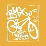 Γραφική παράσταση μπλουζών BMX Ακραίο ύφος οδών ποδηλάτων Στοκ φωτογραφία με δικαίωμα ελεύθερης χρήσης