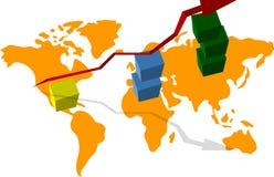 Γραφική παράσταση της οικονομικής ανάπτυξης, του παγκόσμιου χάρτη, των κύβων ανάπτυξης, και του βέλους στον ανώτερο διανυσματική απεικόνιση