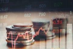 Γραφική παράσταση των νομισμάτων χρηματιστηρίου, οικονομική ανάλυση Abstra δεικτών Στοκ Εικόνα