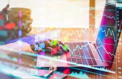 Γραφική παράσταση των στοιχείων χρηματιστηρίου και οικονομικός με την ανάλυση IND αποθεμάτων Στοκ Εικόνα