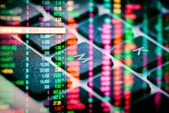 Γραφική παράσταση των στοιχείων χρηματιστηρίου και οικονομικός με την ανάλυση IND αποθεμάτων Στοκ Φωτογραφία