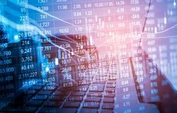 Γραφική παράσταση των στοιχείων χρηματιστηρίου και οικονομικός με την ανάλυση IND αποθεμάτων Στοκ φωτογραφία με δικαίωμα ελεύθερης χρήσης
