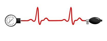 Γραφική παράσταση ECG με το μετρητή πίεσης του αίματος απεικόνιση αποθεμάτων