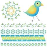 Γραφική συλλογή με τα ζωηρόχρωμα πουλιά Στοκ Εικόνες