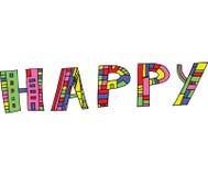 Γραφική τέχνη με τη λέξη ευτυχή Στοκ φωτογραφία με δικαίωμα ελεύθερης χρήσης
