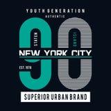 Γραφική τέχνη τυπογραφίας πόλεων της Νέας Υόρκης για την μπλούζα ελεύθερη απεικόνιση δικαιώματος