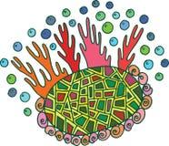 Γραφική τέχνη Doodle με το κοράλλι, την πέτρα και τα κοχύλια Στοκ φωτογραφία με δικαίωμα ελεύθερης χρήσης