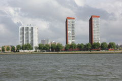 Γραφική όχθη ποταμού (ποταμός Maas) Ρότερνταμ Στοκ Φωτογραφίες