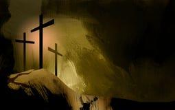 Γραφικοί χριστιανικοί σταυροί του τοπίου του Ιησού Στοκ φωτογραφία με δικαίωμα ελεύθερης χρήσης