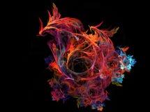 Γραφικός δράκος πουλιών του Φοίνικας πυρκαγιάς υπολογιστών Ψηφιακός καπνός μουσικής τέχνης Fractal γραφικό ζωηρόχρωμο υπόβαθρο διανυσματική απεικόνιση