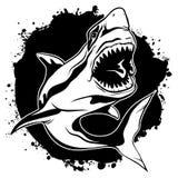 Γραφικός επιθετικός καρχαρίας μελανιού σχεδίων με το ανοικτό στόμα Στοκ εικόνα με δικαίωμα ελεύθερης χρήσης