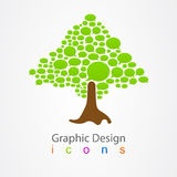 Γραφικό αφηρημένο δέντρο λογότυπων φυσαλίδων σχεδίου Στοκ Φωτογραφίες