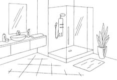 Γραφικό διάνυσμα απεικόνισης εγχώριων εσωτερικό μαύρο άσπρο σκίτσων λουτρών Στοκ Φωτογραφίες