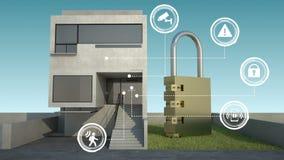Γραφικό εικονίδιο πληροφοριών ασφάλειας IoT στο έξυπνο σπίτι, έξυπνες εγχώριες συσκευές, Διαδίκτυο των πραγμάτων ημέρα ελεύθερη απεικόνιση δικαιώματος