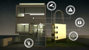Γραφικό εικονίδιο πληροφοριών ασφάλειας IoT στο έξυπνο σπίτι, έξυπνες εγχώριες συσκευές, Διαδίκτυο των πραγμάτων νύχτα ελεύθερη απεικόνιση δικαιώματος