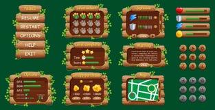 Γραφικό ενδιάμεσο με τον χρήστη GUI για το κινητό παιχνίδι ή app Σχέδιο, κουμπιά και εικονίδια ελεύθερη απεικόνιση δικαιώματος