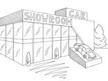 Γραφικό εξωτερικό μαύρο άσπρο διάνυσμα απεικόνισης σκίτσων καταστημάτων αιθουσών εκθέσεως αυτοκινήτων Στοκ Φωτογραφίες