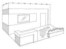 Γραφικό εσωτερικό μαύρο άσπρο διάνυσμα απεικόνισης σκίτσων στάσεων έκθεσης Στοκ φωτογραφία με δικαίωμα ελεύθερης χρήσης