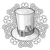 Γραφικό καπέλο, τριφύλλι και διακόσμηση ημέρας του ST Patricks με τους κόμβους Απεικόνιση αποθεμάτων