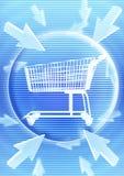 γραφικό καροτσάκι αγορών &e Στοκ Εικόνα