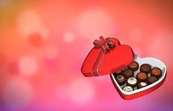 Γραφικό κιβώτιο ύφους διαμορφωμένων των καρδιά σοκολατών απεικόνιση αποθεμάτων
