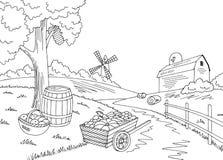 Γραφικό μαύρο άσπρο διάνυσμα απεικόνισης σκίτσων συγκομιδών συγκομιδών τοπίων αγροτικού φθινοπώρου Στοκ Εικόνα