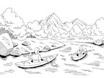 Γραφικό μαύρο άσπρο διάνυσμα απεικόνισης σκίτσων τοπίων ποταμών ταξιδιού βαρκών καγιάκ απεικόνιση αποθεμάτων