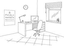 Γραφικό μαύρο άσπρο εσωτερικό διάνυσμα απεικόνισης σκίτσων γραφείων οφθαλμολόγων Στοκ φωτογραφία με δικαίωμα ελεύθερης χρήσης