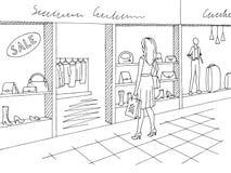 Γραφικό μαύρο άσπρο εσωτερικό διάνυσμα απεικόνισης σκίτσων λεωφόρων αγορών Στάση γυναικών Στοκ Φωτογραφία