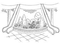 Γραφικό μαύρο άσπρο εσωτερικό διάνυσμα απεικόνισης σκίτσων λόμπι λεωφόρων Στοκ εικόνες με δικαίωμα ελεύθερης χρήσης