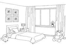 Γραφικό μαύρο άσπρο εσωτερικό σκίτσο δωματίων παιδιών Στοκ εικόνα με δικαίωμα ελεύθερης χρήσης