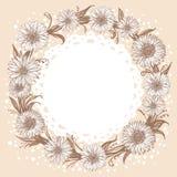 Γραφικό μονοχρωματικό στεφάνι λουλουδιών απεικόνιση αποθεμάτων