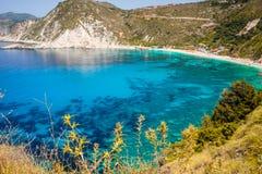 Γραφικό πανόραμα της παραλίας Petani κρύσταλλο - καθαρίστε το νερό, ήρεμος κόλπος Αγαπημένος προορισμός επίσκεψης τουριστών στο κ στοκ εικόνα με δικαίωμα ελεύθερης χρήσης