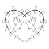 Γραφικό πουλί στην καρδιά, διάνυσμα Στοκ φωτογραφία με δικαίωμα ελεύθερης χρήσης