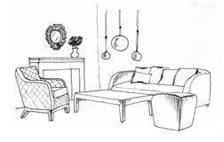 Γραφικό σκίτσο ενός εσωτερικού καθιστικού Στοκ Εικόνες