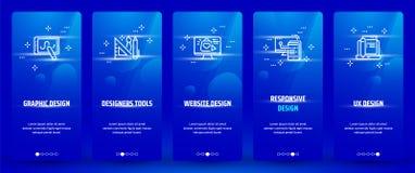 Γραφικό σχέδιο, εργαλεία σχεδιαστών, σχέδιο ιστοχώρου, απαντητικό σχέδιο, κάθετες κάρτες σχεδίου UX με τις ισχυρές μεταφορές ελεύθερη απεικόνιση δικαιώματος